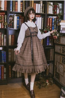 "Original Design Sweet ""Little Detective"" Plaid Cloak Classic Lolita JSK Dress"