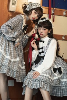 Original Design Black And White Plaid Long Sleeve Sweet Lolita OP Dress