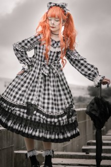 Original Design Long Sleeve High Waist Plaid Sweet Lolita OP Dress 2 Colors