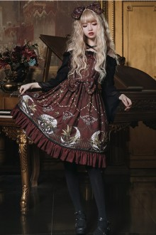 Original Design <Moon Altar> Wine Red Vintage Classic Lolita JSK Dress