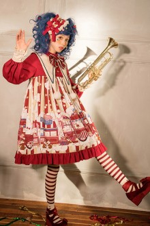 Original Design <Popcorn> Red long Sleeved Sweet Lolita OP Dress