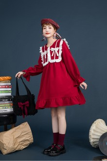 Original Design New Retro Red Sweet Lolita OP Dress