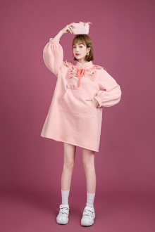 Original Design Embroidered Collar Long Sleeve Thicken Pink Sweet Lolita Dress
