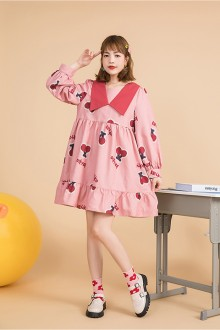 Original Design Cherry Print New Long Sleeved Pink Sweet Lolita Dress