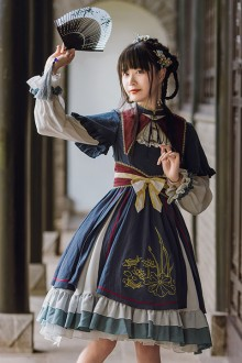 Original Design Chinese Embroidery Dark Blue Classic Lolita OP Dress