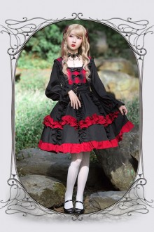 Original Design <Rose Girl> Black Long Sleeve Classic Lolita OP Dress