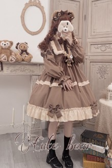 Original Design <Caramel Teddy Bear> Long Sleeve Sweet Lolita OP Dress