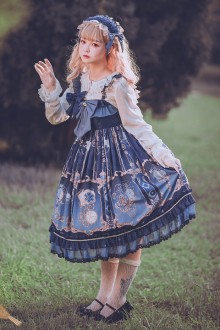 Original Design <Mechanical Clock> Dark Blue Sweet Lolita JSK Dress