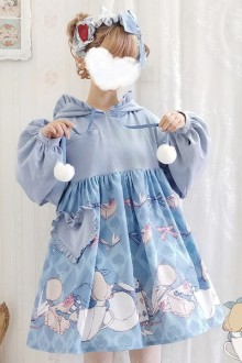 Original Design <Alice Rabbit> Blue Cute Sweet Lolita OP Dress