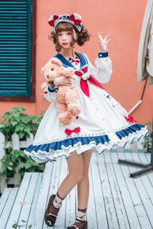 Original Design <Sea White Bear> White Chiffon Sweet Lolita OP Dress