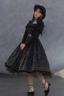 Original <Capricorn> Printed Black Velvet Classic Lolita Op Dress