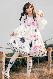 Original <Strawberry Cow> Printed Sweet Lolita Op Dress 2 Colors