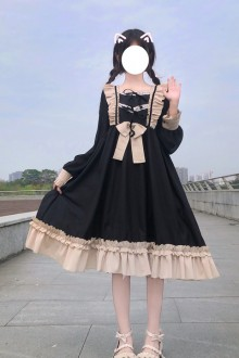 2021 New Bow Long Sleeve Sweet Lolita Dress 2 Colors