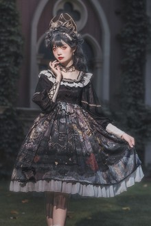 Original New <Forest Fan Deer> Classic Lolita Black OP Dress
