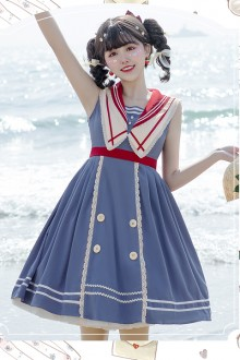 Original Design <Navy Academy> Blue Sweet Lolita Dress