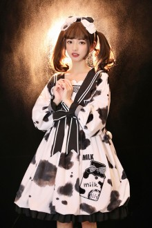 Original Design New <Bud Cow> Bow Sweet Lolita OP Dress