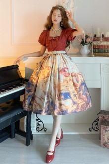 Original Design <The Victory Of The Church> Red Puff Sleeve Classic OP Dress