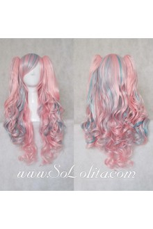 Lolita Wig Curl Sweet Blue Pink Mixed Medium
