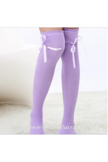 Cute Sweety Pop Purple Bow Lolita Knee Stockings