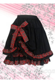 Red Plaid Bow Ruffle Hem Black Lolita Skirt