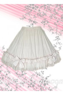 Bow Pleated Border Sweet Lolita Skirt