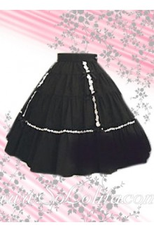 White Hem Black Pleated Lolita Skirt