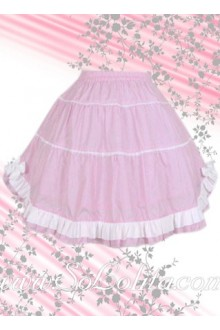 Sweet White Hem Pink Lolita Skirt