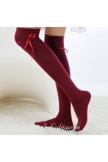 Cute Sweety Pop Red Wine Bow Lolita Knee Stockings