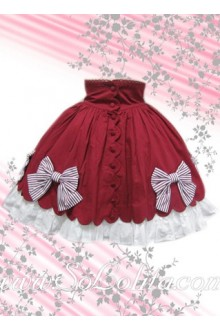 Bow Petal Ruffle Hem Red Lolita Skirt