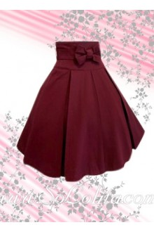 Red Bow Pleated Long Lolita Skirt