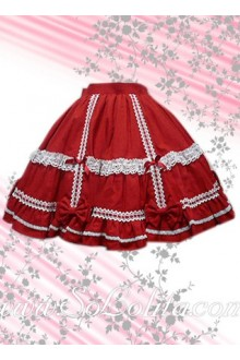 Lace hem Red Bow Pleated Lolita Skirt