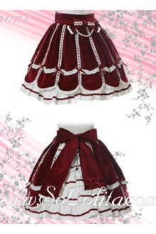 Red Bow Ruffle Petal Hem Lolita Skirt