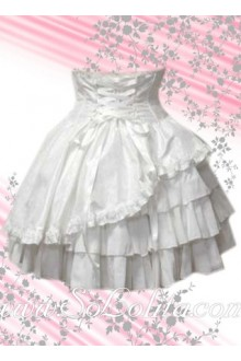 White Corset Multi-layer Pleated Lolita Skirt