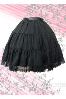 Black Ruffle Lace Hem Cotton Lolita Skirt