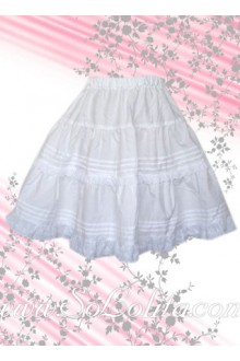 Lovely Pure White Rufle Cheap Lolita Skirt