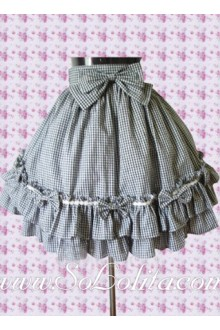 Lovely Checked Bow Ruffle Multi-layer Lolita Skirt
