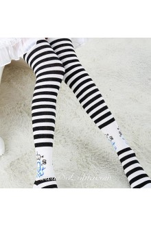 Cute Pop Fashion Black Stripes Academy Lolita Knee Stockings
