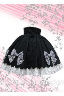 Kawaii Bow Petal Hem Black Mini Lolita Skirt