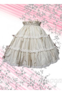 Sweet and Lovely Pleated White Lolita Skirt