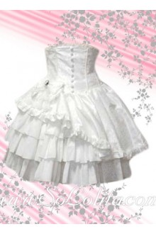 Kawaii Multi-layer Asymmertical White Lolita Skirt