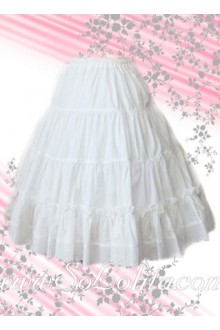 Pure White Pleated Long Cotton Lolita Skirt