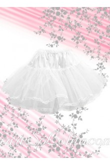 White Ruffle Puff Mini Lolita Skirt