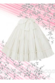 White Ruffle Bow Beautiful Lolita Skirt