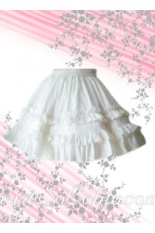 Sweet and Kawaii Pure White Pleated Lolita Skirt