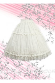 Pure White Ruffle Sweet Lolita Skirt