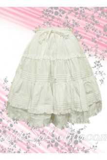 White Multi-layer Pleated Hem Lolita Skirt