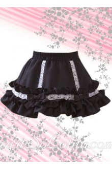 Black Bow Ruffle Petal Hem Mini Lolita Skirt