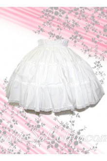 White Ruffle Lace Hem Short Lolita Skirt