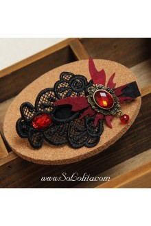 Lolita Gothic Red Vampire Butterfly Black Lace  Barrette