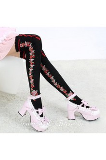 Cute Sweety Pop Black Roses Lolita Knee Stockings
